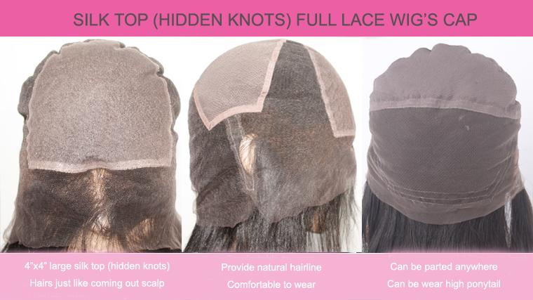 Lace Wigs Silk Top Hidden Knots Full Lace Wig